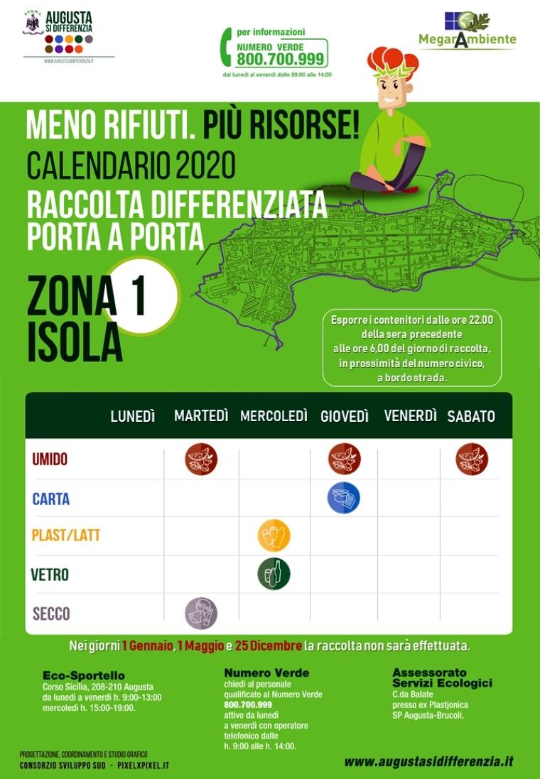 Calendario Differenziata Augusta 2021 ZONA 1 – Augusta si differenzia